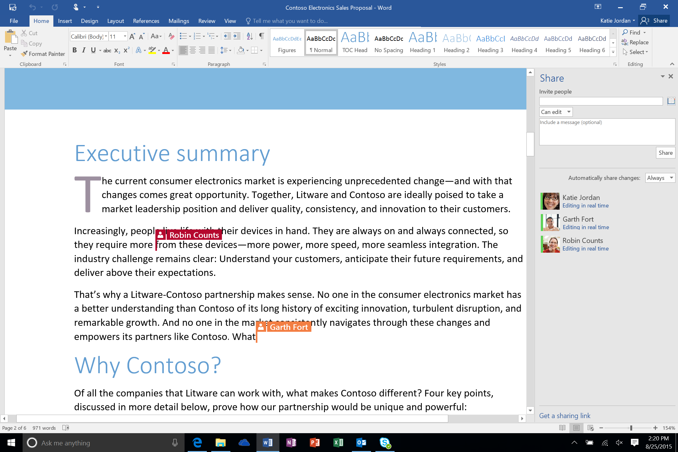 Real Time Co-Authoring in Word 2016