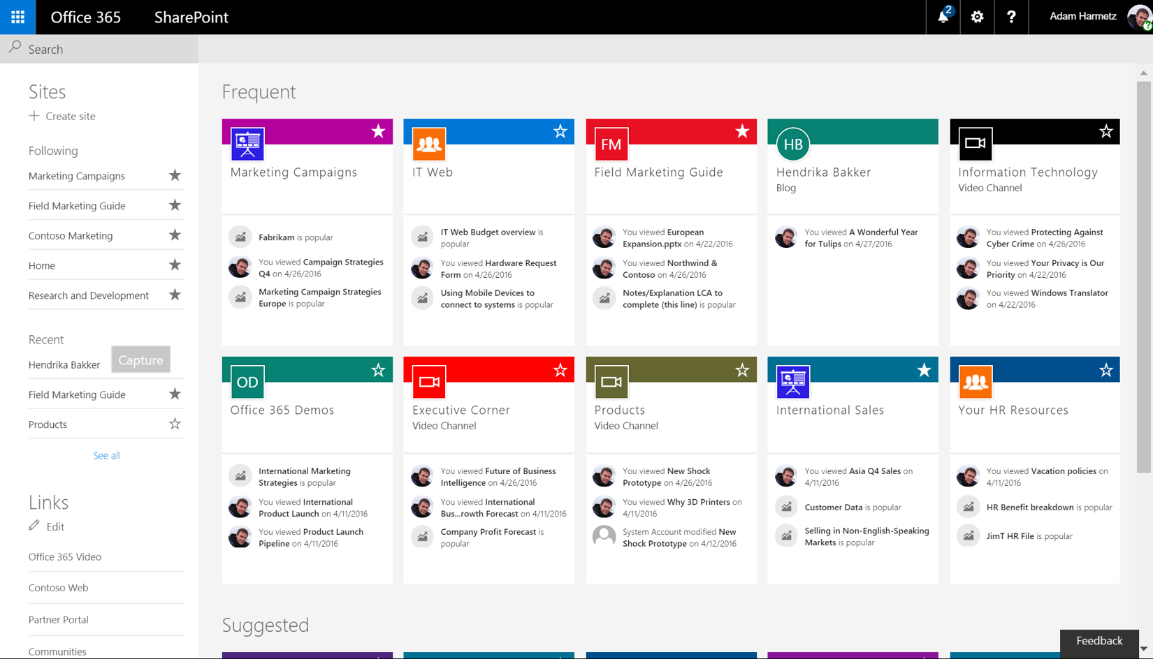 SharePoint Landing Page